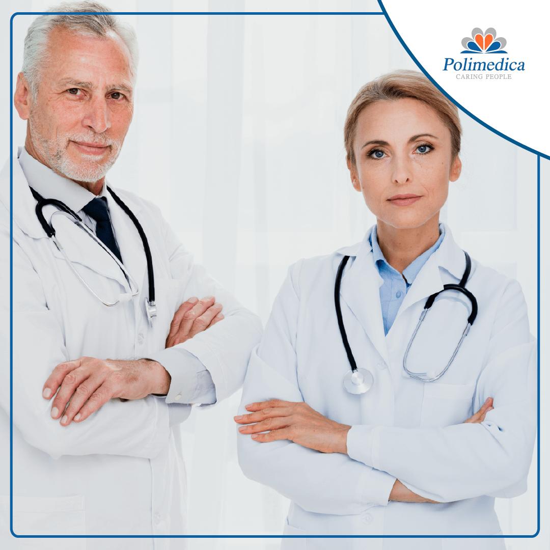 Immagine, con logo di Polimedica Melfi, di due medici con camice bianco. Foto utilizzata per il post Nuovo annuncio di lavoro per medici specialisti e per la pagina Medici.