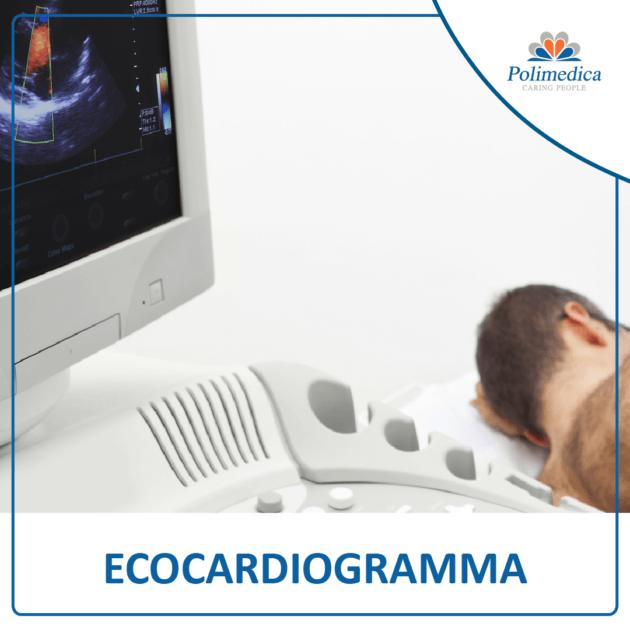 Foto, con logo di Polimedica Melfi, di un paziente durante un ecocardiogramma. Immagine utilizzata per la pagina Ecocardiogramma.