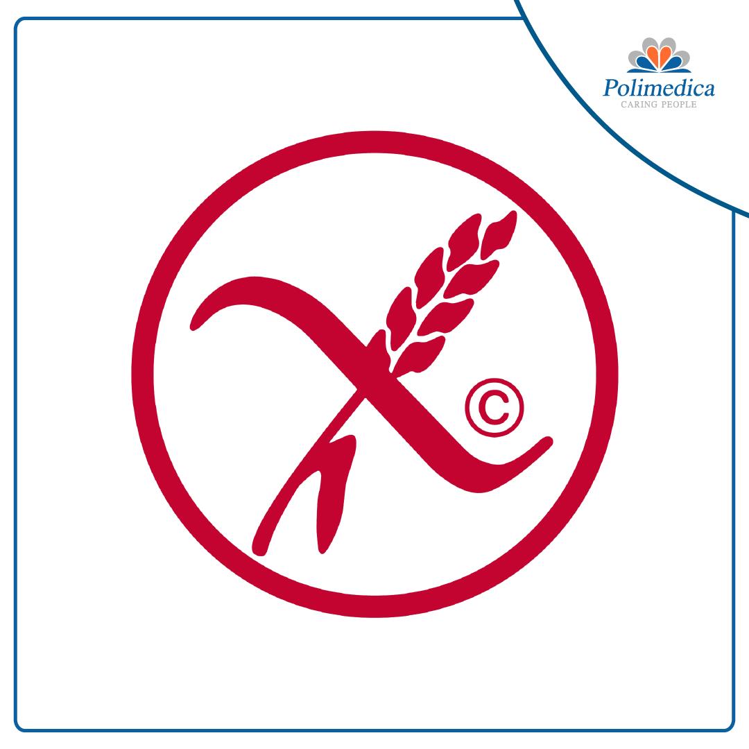 Immagine, con logo di Polimedica Melfi, del logo utilizzato per indicare gli alimenti senza glutine (spiga sbarrata). Foto di accompagnamento all'articolo dedicato alla Celiachia: sintomi, diagnosi, terapia.
